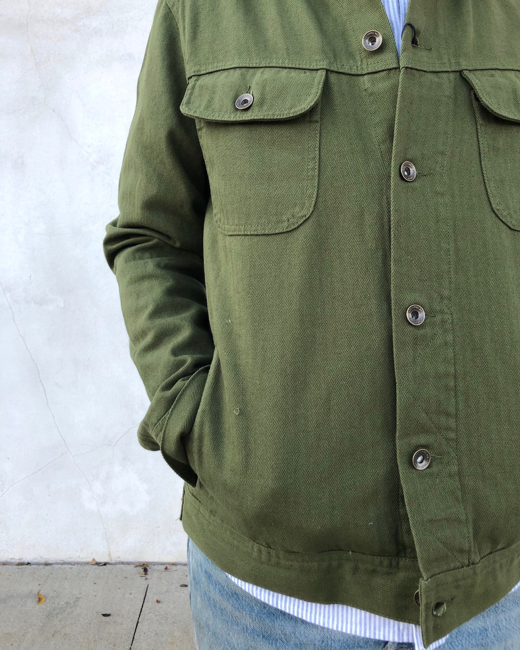 The Long Haul Jacket in Washed Olive Herringbone