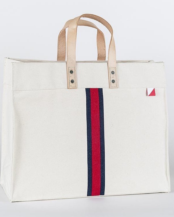 Striped Box Tote (Red Stripe)