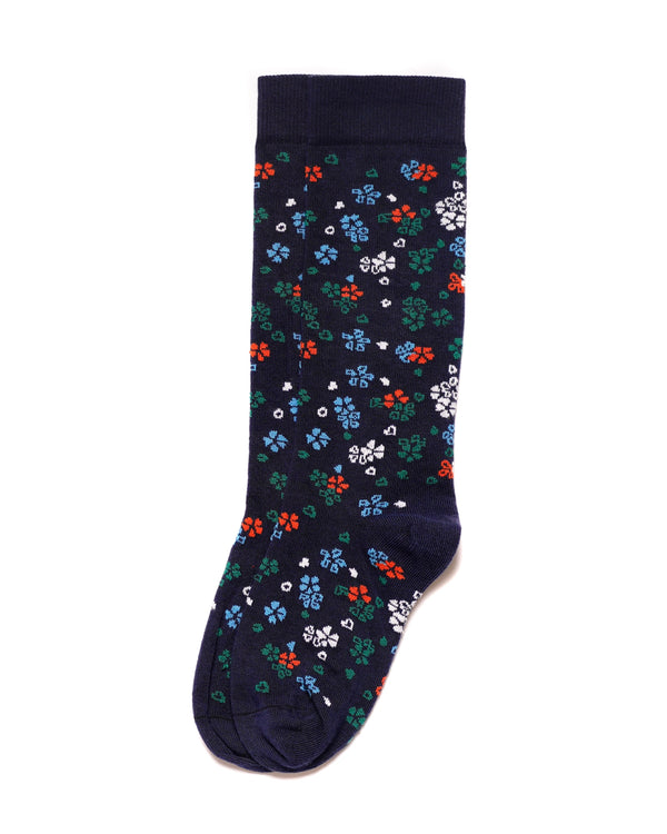 Floral Pattern Socks in Supima Cotton Navy