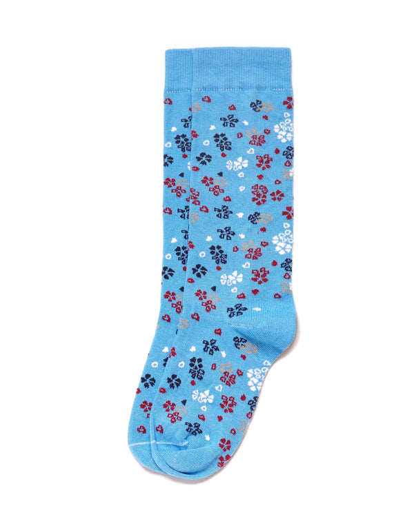 Floral Pattern Socks in Supima Cotton Powder Blue