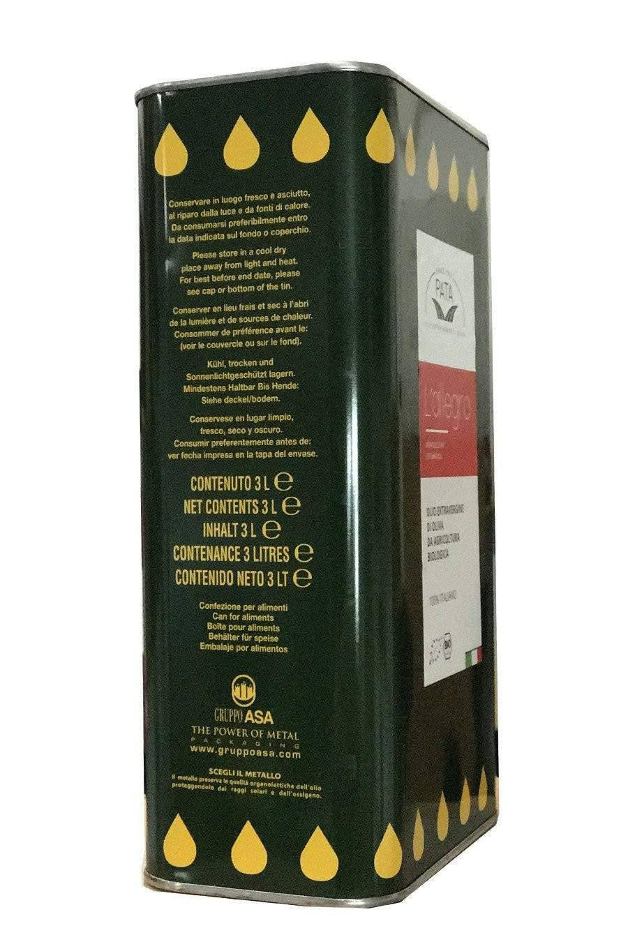 Calabrian Organic 100%  Extra Virgin Olive oil 3lt