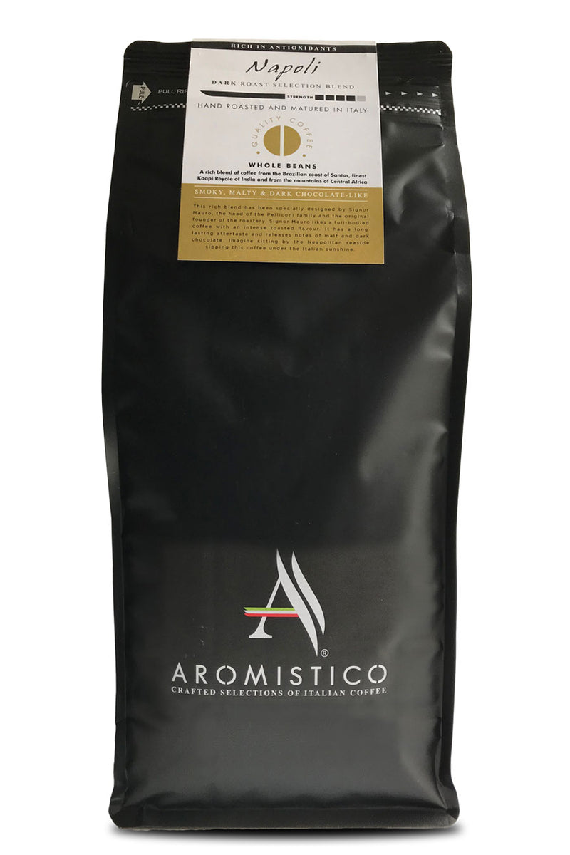 AROMISTICO Premium Roasted Whole COFFEE BEANS NAPOLI BLEND 1kg - Agrumia