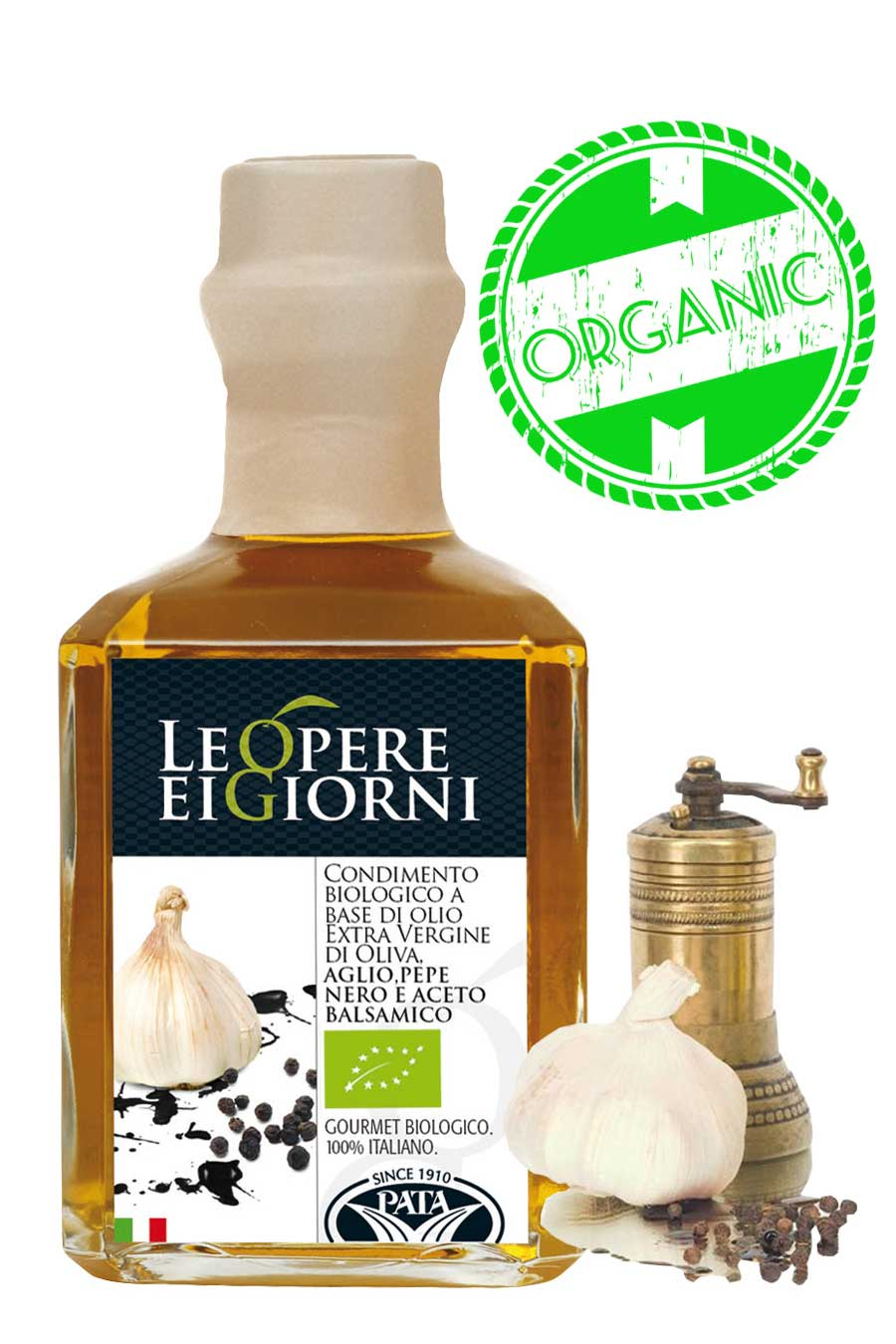 Organic Garlic Black Pepper and Balsamic infused Olive Oil 250ml - Agrumia