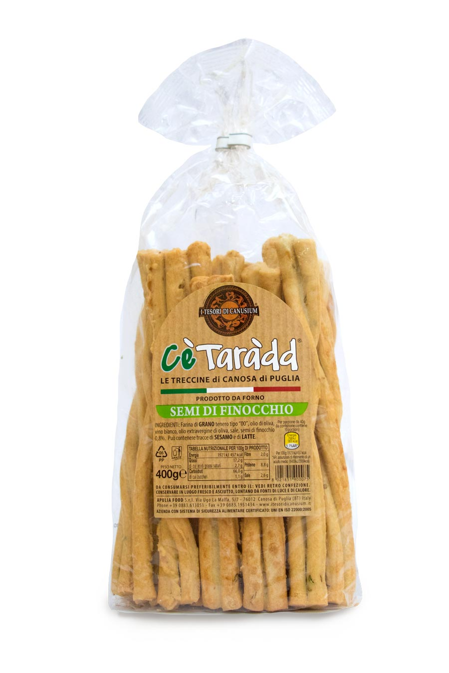 Italian Traditional Grissini | Treccine with Fennel Seeds 400g - Agrumia