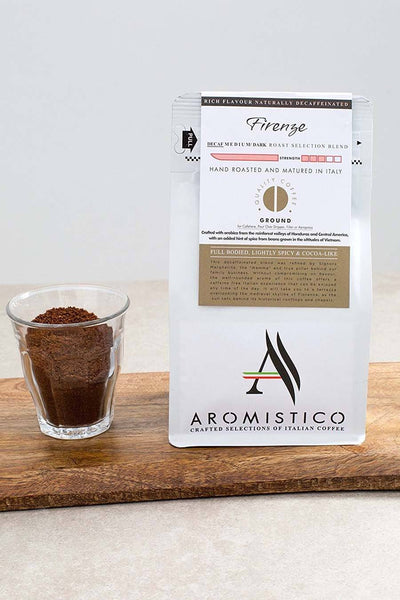 AROMISTICO COFFEE Rich Aroma DECAFFEINATED GROUND COFFEE FIRENZE BLEND - Agrumia