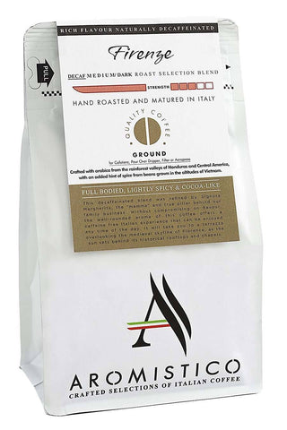 AROMISTICO COFFEE Rich Aroma DECAFFEINATED GROUND COFFEE FIRENZE BLEND for £6.50 at Agrumia