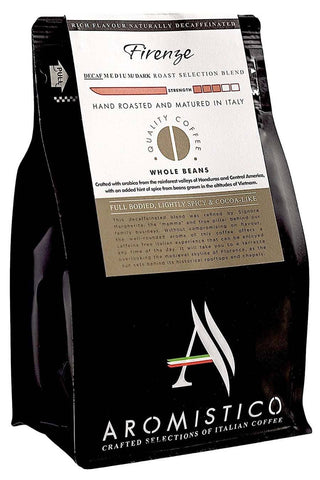 AROMISTICO DECAF Premium Roasted Whole COFFEE BEANS FIRENZE BLEND for £6.50 at Agrumia