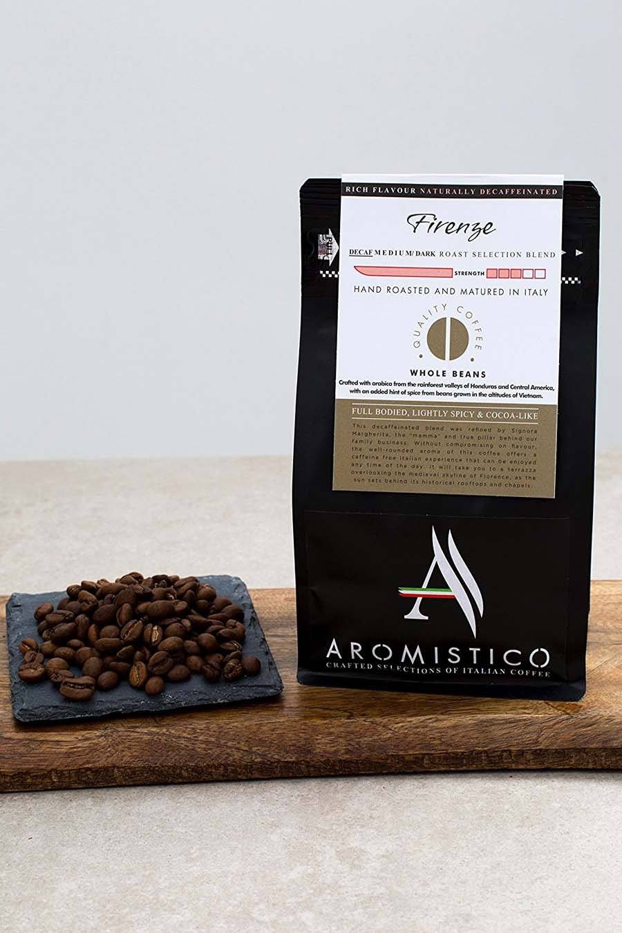 Aromistico Decaf Premium Roasted Whole Coffee Beans Firenze Blend