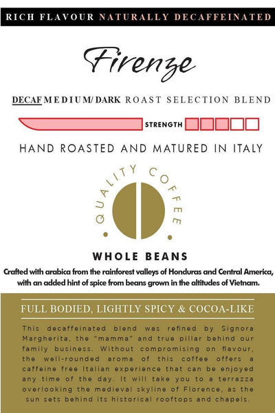 AROMISTICO DECAF Premium Roasted Whole COFFEE BEANS FIRENZE BLEND - Agrumia