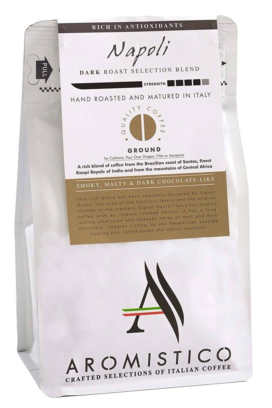 Aromistico Rich Dark Roast Premium Italian Ground Coffee Napoli Blend
