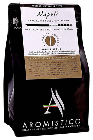 AROMISTICO COFFEE Rich Strong Dark Roast Premium Italian Roasted Whole COFFEE BEANS NAPOLI BLEND For Espresso - Agrumia
