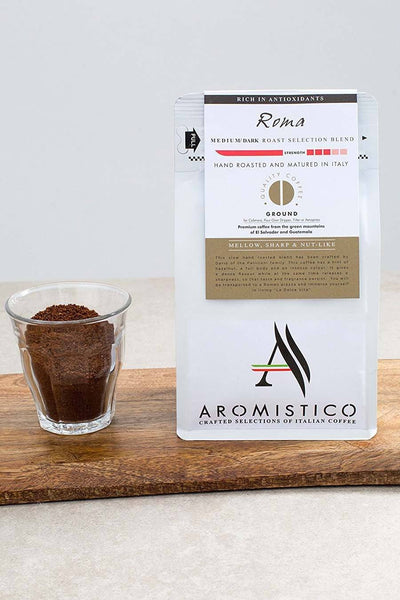 AROMISTICO COFFEE Premium Italian GROUND COFFEE ROMA BLEND - Agrumia