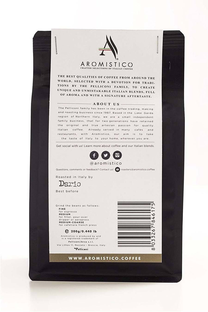 Aromistico Premium Italian Roasted Whole Coffee Beans Roma Blend