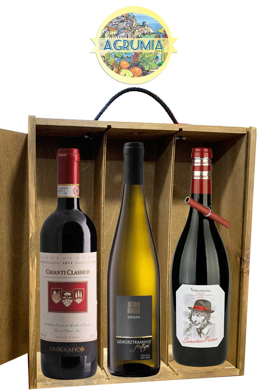 Agrumia Premium Three Bottle Italian Wine Hamper