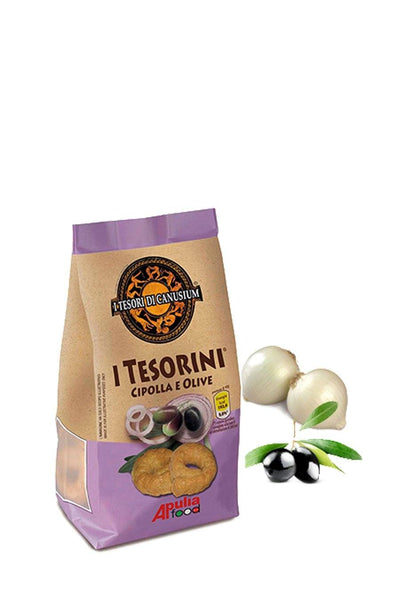 Italian Taralli with Onion & Olives 225g - Agrumia