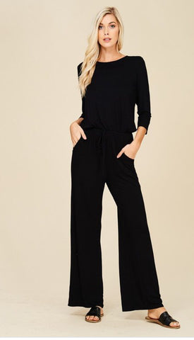 Black Mid Sleeve Jumpsuit - PASH BOUTIQUE