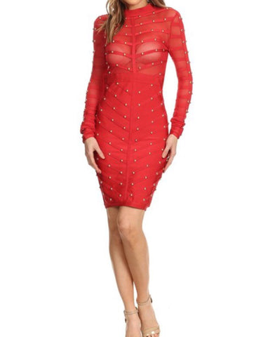 Red Fitted Long-sleeved Bodycon - PASH BOUTIQUE