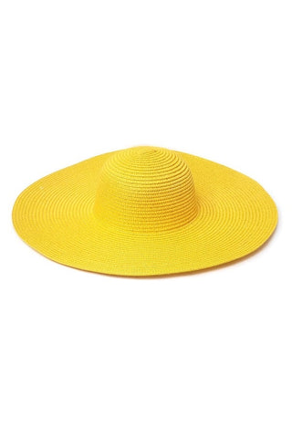 Yellow Floppy Straw Hat - PASH BOUTIQUE