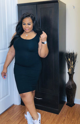 Black Midi Dress - PASH BOUTIQUE