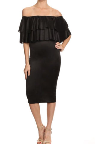 Black Ruffle Shoulder Dress - PASH BOUTIQUE