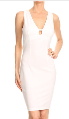 White Midi Dress - PASH BOUTIQUE