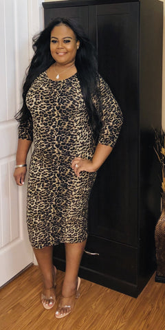Leopard Plus Midi Dress