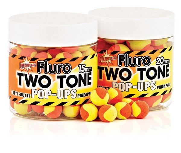 Dynamite Baits Fluro two tone pop-ups 15mm - Tutti Frutti & Pineapple - VIVADO