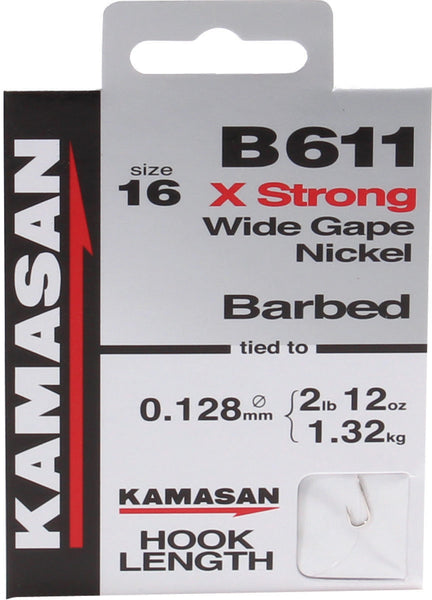 Kamasan B611 Barbed X Strong Wide Gape Nickel Hooks To Nylon