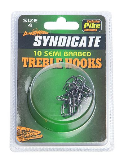 Dinsmores Syndicate SEMI BARBED TREBLE HOOKS