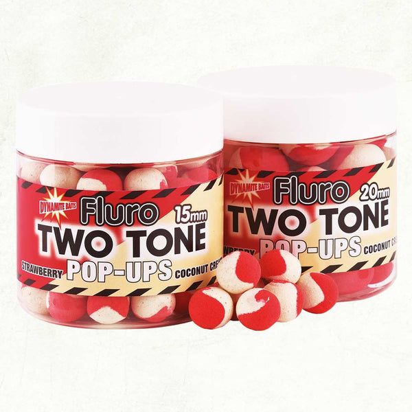 Dynamite Baits Fluro two tone pop-ups 15mm - Strawberry & Coconut Cream - VIVADO