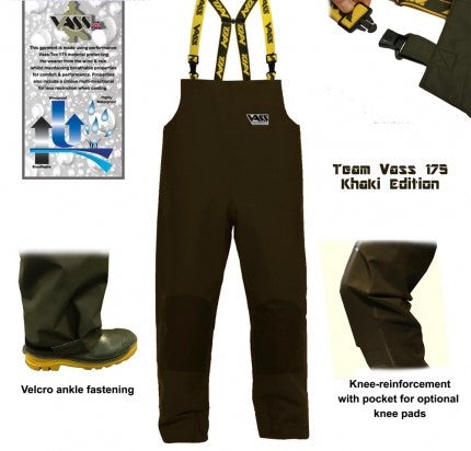 Team Vass 175 'Khaki Edition' Lightweight Waterproof & Breathable Fishing Bib & Brace Trouser