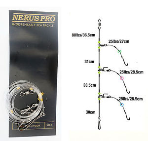 Nerus Pro 3 Hook Flapper beachcaster/shore sea fishing rigs