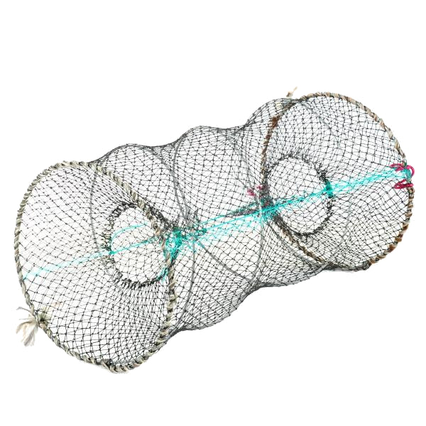 Round Foldable Stainless Steel Wire Nylon Net Fishing Crab Pot Trap 60x95cm - VIVADO