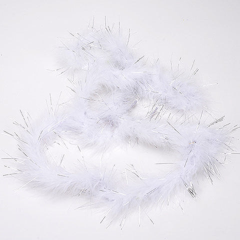 Mini Feather Decorations White Metallic ( 2 Yards Boa ) -