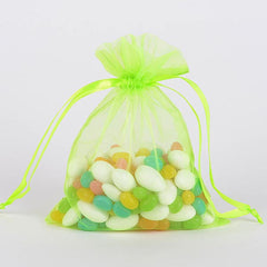 Organza Bags Apple Green ( 3x4 Inch - 10 Bags )