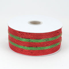 Metallic Deco Mesh Ribbons Red Green ( 4 inch x 25 yards )