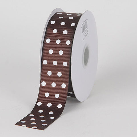Grosgrain Ribbon Color Dots Chocolate Brown with White Dots ( W: 5/8 inch | L: 25 Yards ) -