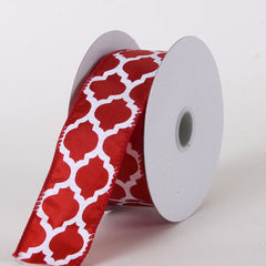 Satin Ribbon Large Quatrefoil Print Red ( W: 1-1/2 inch | L: 10 Yards )