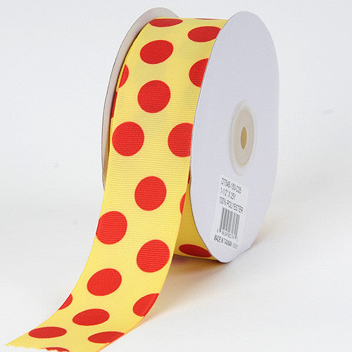 Grosgrain Ribbon Jumbo Dots Canary with Red Dots ( W: 1-1/2 inch | L: 25 Yards )