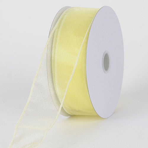 Organza Ribbon Thick Wire Edge 25 Yards Baby Maize ( W: 1-1/2 inch | L: 25 Yards )