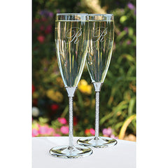 Wedding Toasting Flute Glittering Beads Flutes ( Set of 2 )