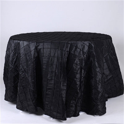 Black  132 inch Round Pintuck Satin Tablecloth