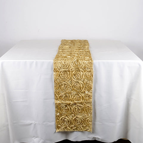 Champagne 14 Inch x 108 Inch Rosette Table Runner