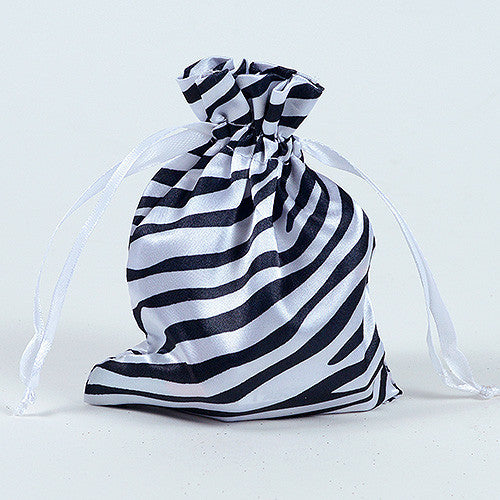 Animal Print Satin Bags White ( 3x4 Inch - 10 Bags )