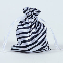 Animal Print Satin Bags White ( 5x7 Inch - 10 Bags )