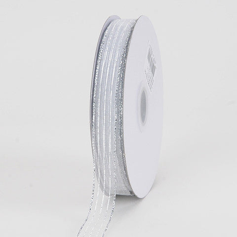 Corsage Ribbon White Silver Line ( W: 5/8 inch | L: 50 Yards )