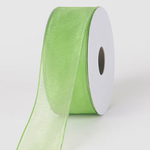 Organza Ribbon Thin Wire Edge 25 Yards Kiwi ( 2-1/2 inch | 25 Yards )