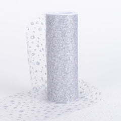 6 Inch x 10 Yards Sparkle Dot Tulle Silver ( W: 6 inch | L: 10 yards )