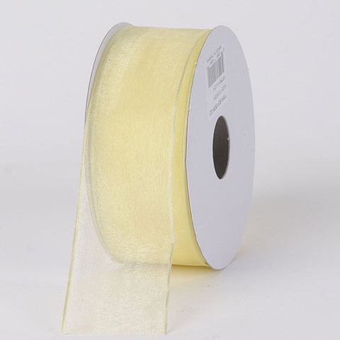 Organza Ribbon Thin Wire Edge 25 Yards Baby Maize ( 1-1/2 inch | 25 Yards )