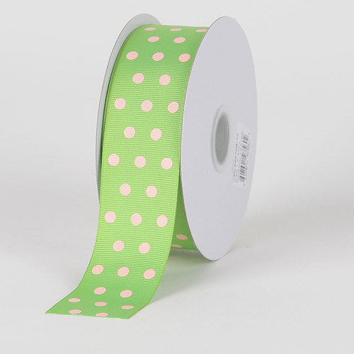Grosgrain Ribbon Color Dots Apple Green with Pink Dots ( W: 5/8 inch | L: 25 Yards )